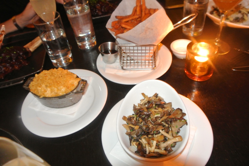 Our sides: mac & cheese, spiced sweet potato fries and roasted field mushrooms.