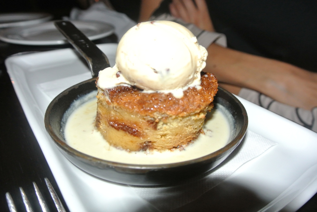 The best dessert of the night - French toast bread pudding with homemade butter pecan ice cream.