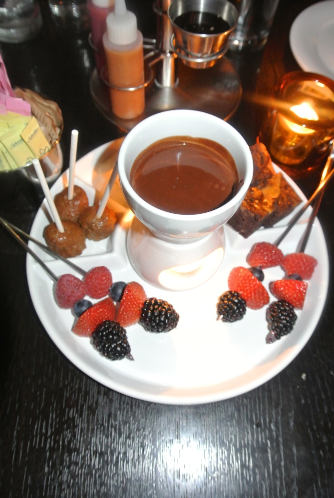 Typical chocolate fondue.