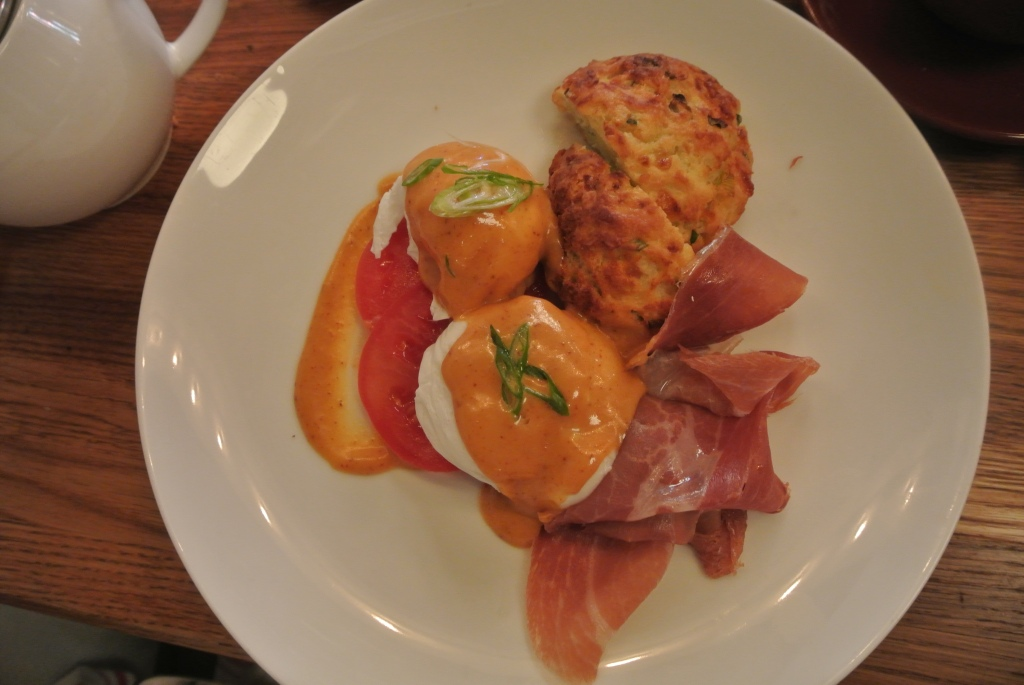 Poached eggs, serano ham and biscuit - their version of eggs benedict!