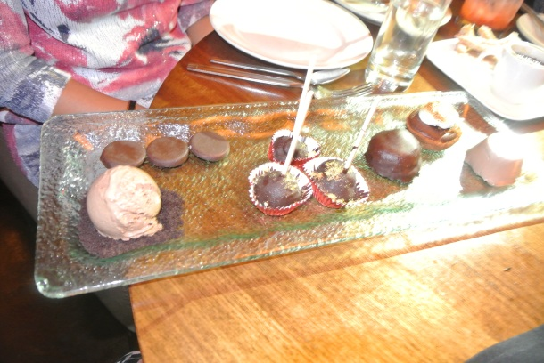 Chocolate Tasting plate - with chocolate cake pops, homemade peppermint patties, panna cotta, molten smores cake, mousse and chocolate dulce de leche ice cream!