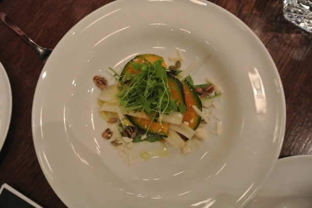 Our appetizer - Kabocha Salad.