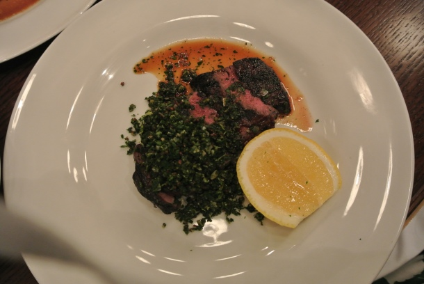 My main dish - Bison striploin with green olive tabouli.  The bison was tender and perfectly grilled - it was delicious!
