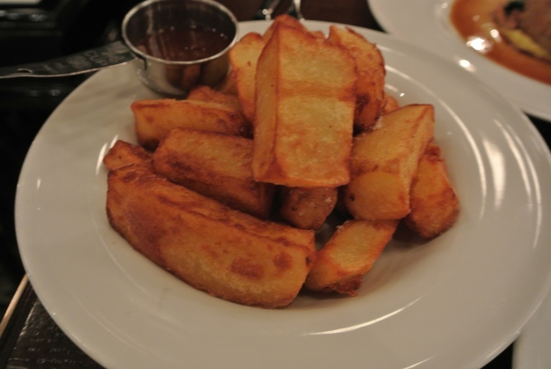 My side - chunky potatoes with a sweet maple dipping sauce.  It was a great sweet and salty combination.