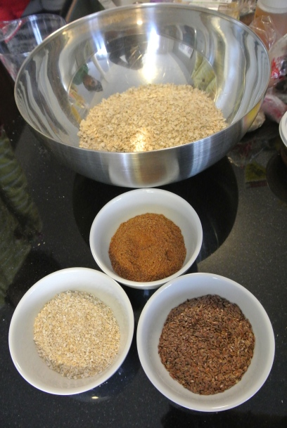 Oats, wheat germ, bran and flax seed for the granola.