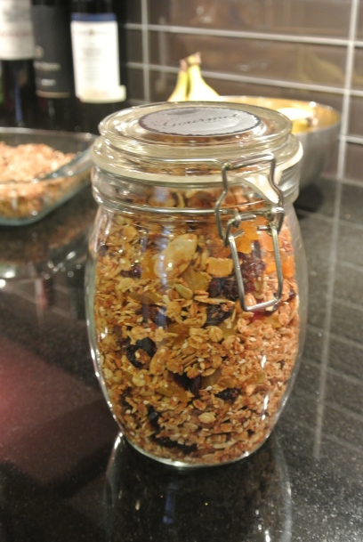 Storing the granola in an air tight jar.