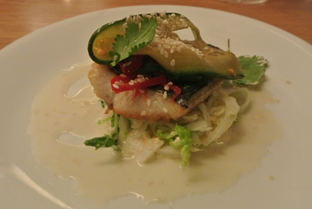 Appetizer - seared mackerel with yuzu, pickled cucumber, chili and hoisin.