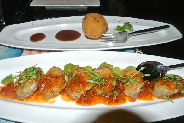 Lump crab cake and Szechuan pot stickers