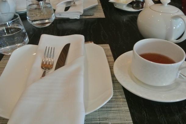 The Ritz simple tea table setting.