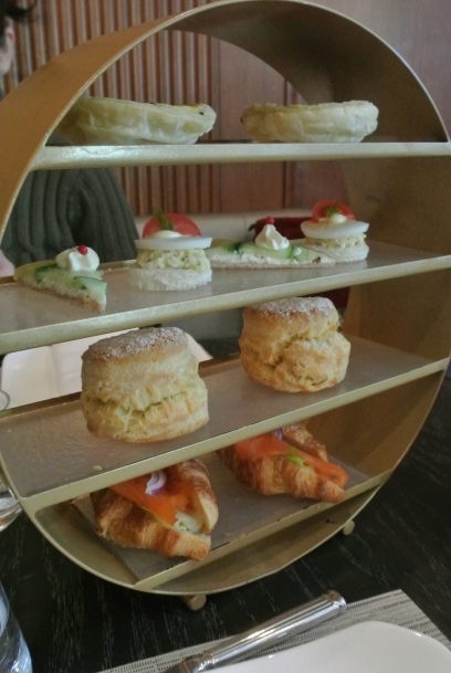 Savoury pastries - smoked salmon croissant, scones, finger sandwiches and quiches.