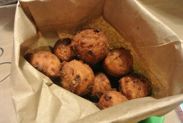 Homemade Hushpuppies - never had these before and they were to dye for! Little bits of savoury fried goodness!