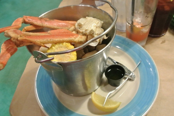 Rusty's Pot Belly - a pail of steamed seafood and melted butter for dipping!