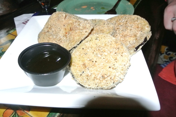 Deep fried eggplant slices.