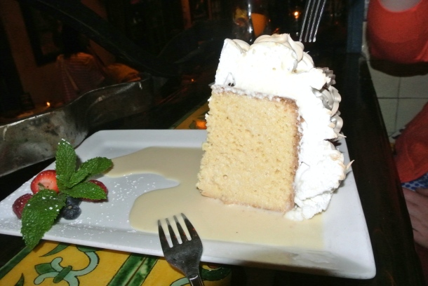 Tres Leches Cake - meringue cake with fresh cream.