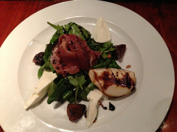 Spinach, fig, bufala mozzarella and pear salad with prosciutto.