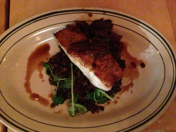 Pan seared halibut with lentils and mushrooms.