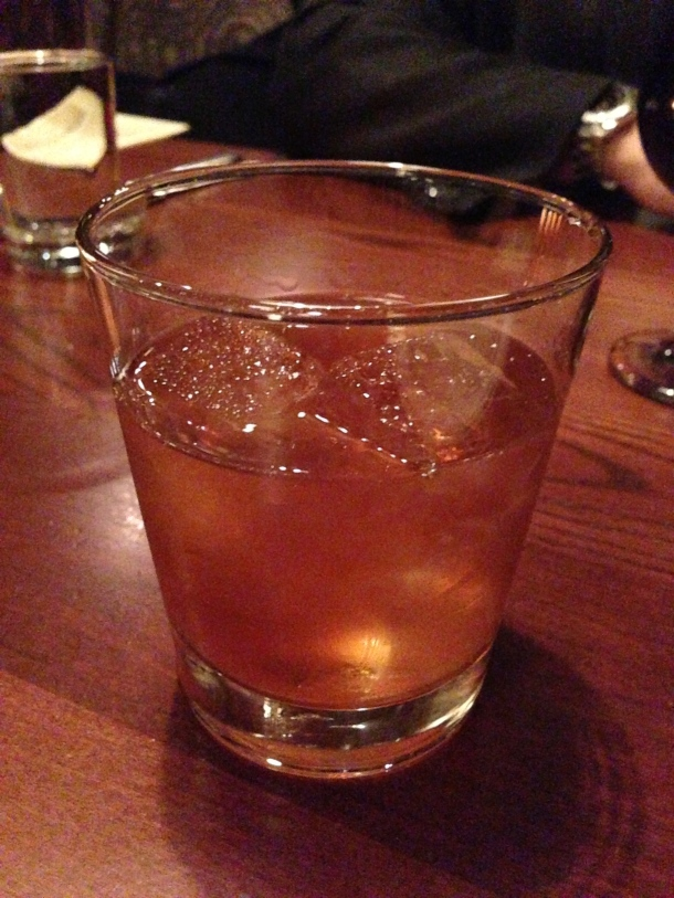 My libation of choice that night - Old Fashioned.  Too strong for me!