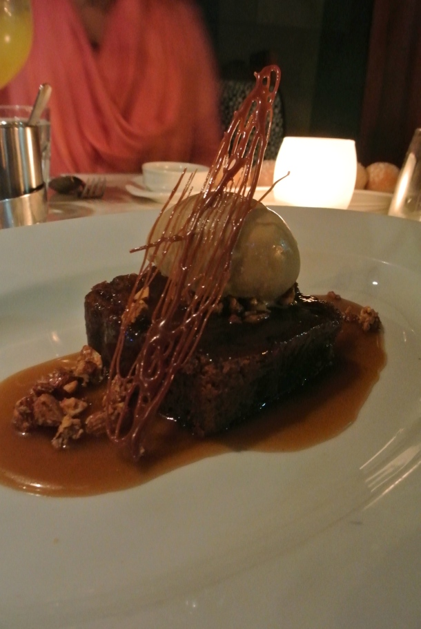 Delicious Budino - warm sticky toffee pudding with espresso gelato.