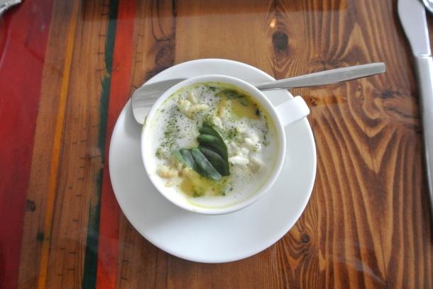 Lime coconut curry shrimp soup.