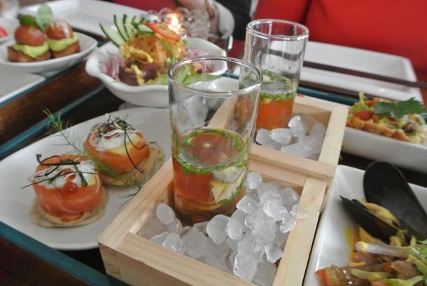 Oyster sake shots - delish!