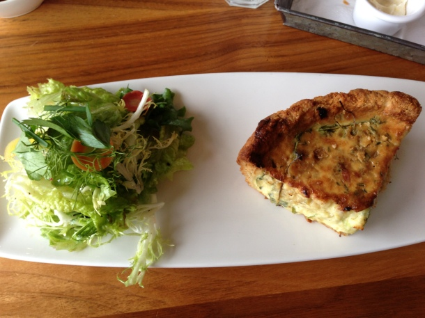 Savoury tart and greens.