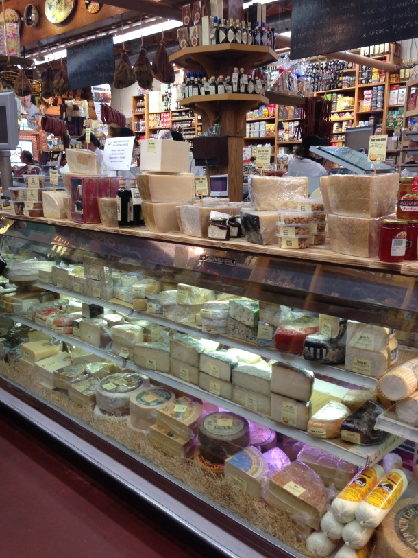 Inside the Cheese Boutique - heaven!  Look at all that cheese!