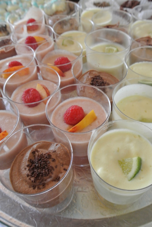 P's individual homemade mousse cups: chocolate, raspberry and key lime!