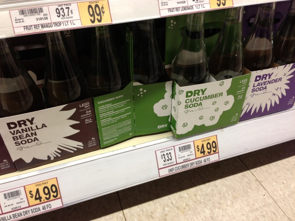 Unique soda flavours - cucumber, lavender and vanilla sodas.