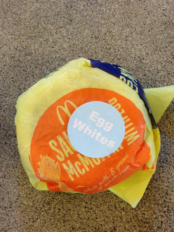 McDonald's Egg White Sausage McMuffin!  They have a lot more healthier options in the U.S. restaurants with calorie information right at the counter!