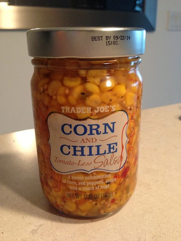 Tomato-less corn and chile salsa - it is sweet and hot at the same time!  I can jars of this stuff!