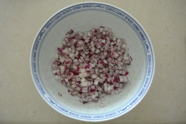 Diced red onion.