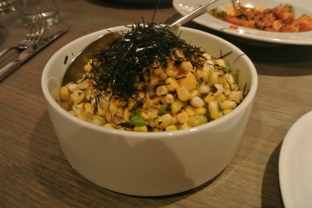 Course 6: Corn with nori and scallions.