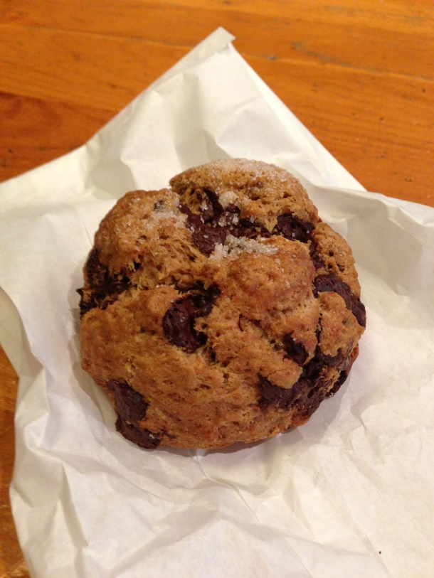 Double chocolate scone - chunky and decadent.