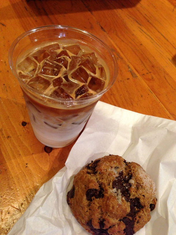 Iced skim latte and a double chocolate scone.