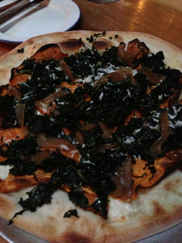 Da Dee pizza - with sweet potato, kale, caramelized onions, pecorino and fior di latte.
