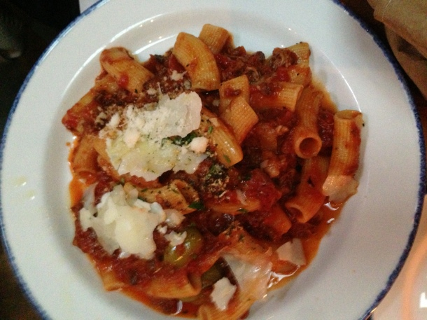Rigatoni Lucani - shredded braised lamb shank, tomato, olives and shaved pecorino.