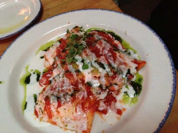Ricotta e Spinaci Ravioli - ricotta, spinach, parmigiano and tomato sauce.