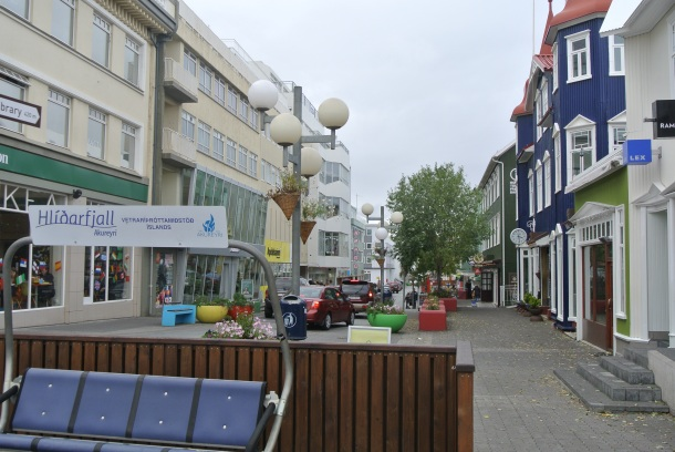 The main street in downtown Akureyri.