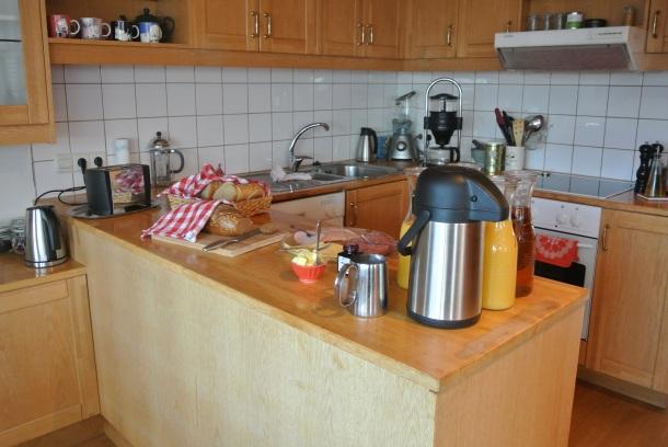 Breakfast served in the kitchen.