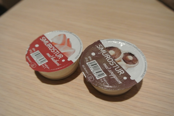 Mini portable cream cheese spreads - shrimp and mushroom flavours.