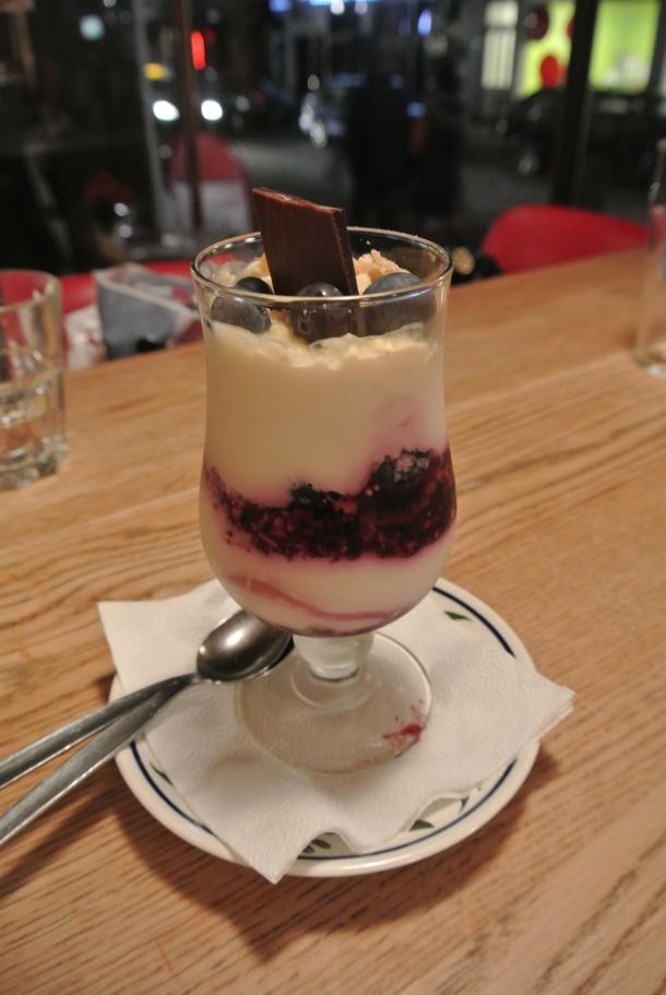 Skyr dessert with wild blueberries.