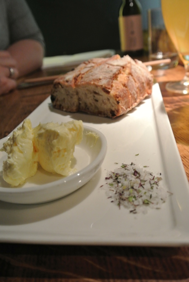 "The ""bread basket"" - served with butter and salt."