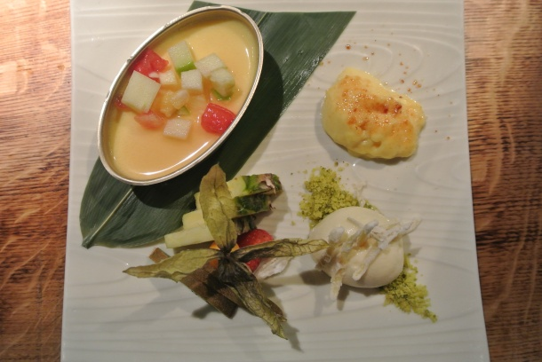 Muchi - ginger lemongrass muchi with creme brulee, ginger confit and lemongrass ice cream!