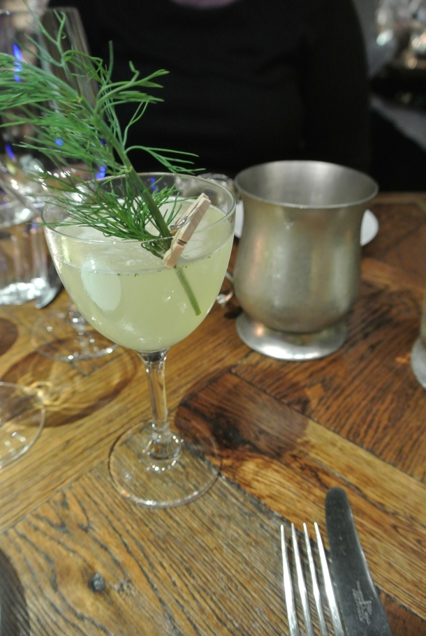 Dill or No Dill cocktail - gin, cucumber, lemon juice, elderflower, fresh dill and smoked salt.