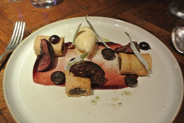 BBQ Black Fig - muscat grapes, white balsamic ice cream and fig roll.