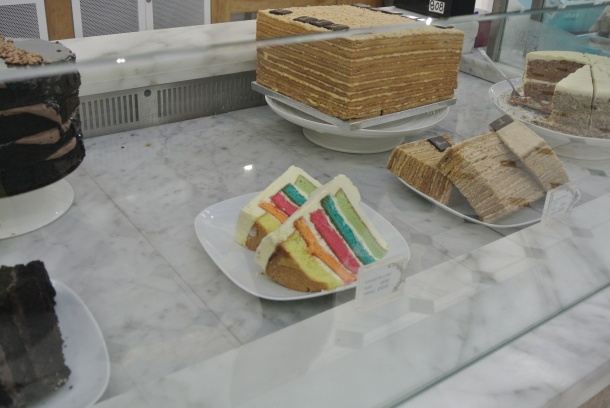I had to take a picture of this cake - love the rainbow layers!