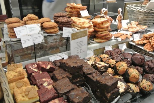 I don't think I've ever seen so many different kinds of brownies, cookies and muffins in one place - delicious!