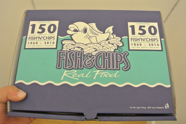 Boxed fish and chips.