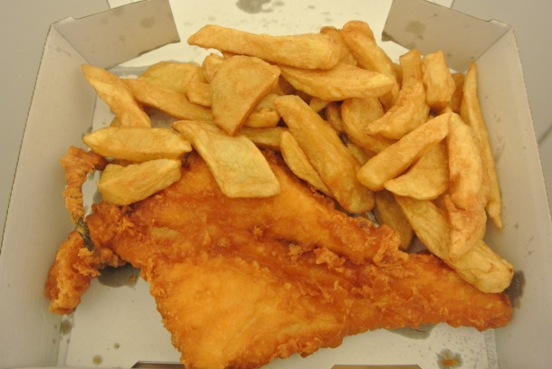 Regular sized Cod and chips for take away.
