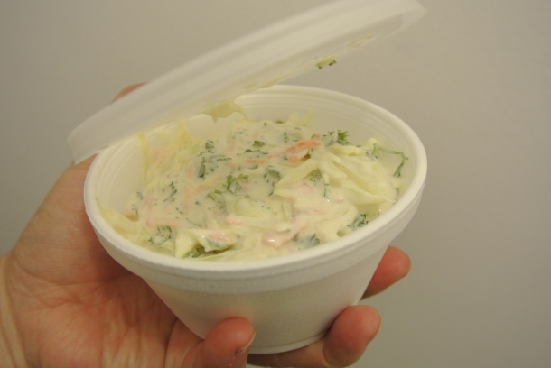 Purchased a side order of coleslaw.